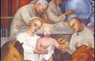 """¿Vacunación o natividad? en los murales """"La industria de Detroit"""" por Diego Rivera"""