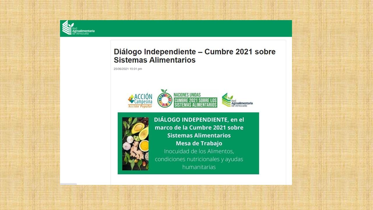 Cumbre sobre los Sistemas Alimentarios. Algunos aportes de Venezuela
