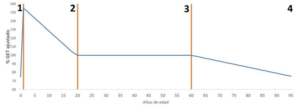 % GET = Porcentaje del Gasto Energético Total ajustado por tamaño corporal (masa libre de grasa y masa grasa) y sexo. Etapa 1: 0 a 1 año de edad, incremento acelerado hasta aproximadamente 150%. Etapa 2: >1 año hasta 20 años, decrecimiento de 2,8% por año. Etapa 3: >20 años hasta 60 años, estabilidad metabólica. Etapa 4: > 60 años de edad, decrecimiento de 0,7% por año. Fuente: Modificado de Pontzer et al. 2021.